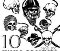 10 skull Photoshop brushes
