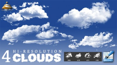 4 Hi-Res Clouds Brushes