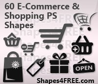Shopping and E-Commerce Photoshop Shapes