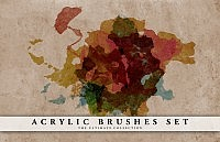 Acrylic brushes set, water colours