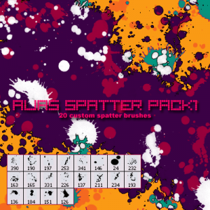 CGFX spatter pack 1 photoshop brushes