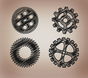 50 Hand Drawn Gear PS Shapes