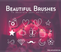 hearts Brushes camera stars  free brushes for photoshop