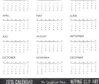 Free 2015 Calendar Photoshop Brushes PNG Clip Art