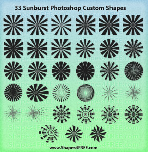 33 Sunburst Photoshop & Vector Shapes (CSH, SVG)