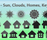 40 Free Photoshop Shapes – Sun, Clouds, Home, Keys