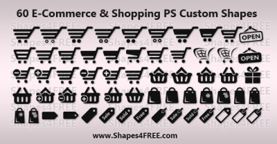 60 Shopping/E-Commerce Photoshop & Vector Shapes (CSH, SVG)