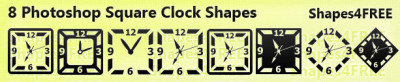 8 Photoshop Square Clock Shapes