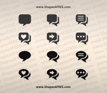 12 Pretty Chat Photoshop Shapes (CSH & SVG)