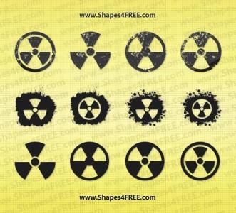 12 Grunge Radiation Symbol Vector Shapes