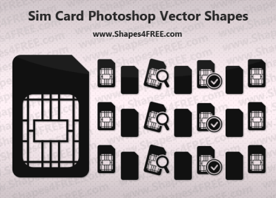 Sim Card Icon Photoshop & Vector Shapes (CSH, SVG)
