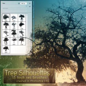 Tree Silhouette Brushes by  kuschelirmel-stock