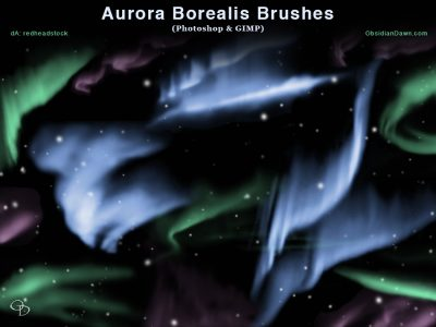 Aurora Borealis Photoshop and GIMP Brushes by  redheadstock