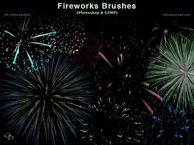 Fireworks Celebration Photoshop and GIMP Brushes by  redheadstock
