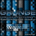 Grunge Checkers 1 Pattern Set for Photoshop or Gimp