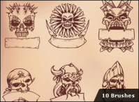 10 Skull Brushes hanyasatu