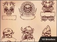 10 Skull Brushes hanyasatu